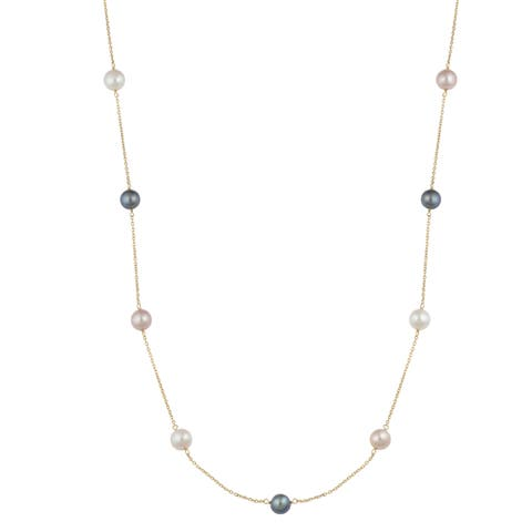 Fremada 14k Yellow Gold White/Black/Pink Freshwater Pearl Tin-cup Station Necklace