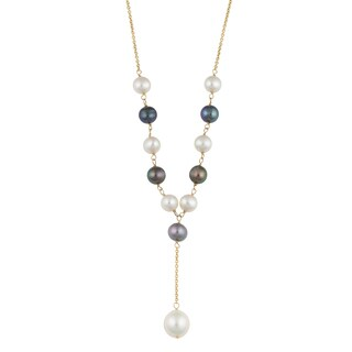 Fremada 14k Yellow Gold Black and White Freshwater Pearl Drop Necklace (16 inches)
