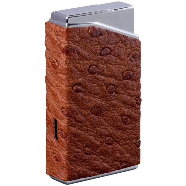 Brizard & Co Genuine Ostrich Tan Lotus Pocket Lighter