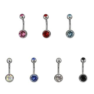 Supreme Jewelry Double Crystal Belly Rings (Pack of 7)