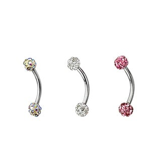 Supreme Jewelry Austrian Crystal Eyebrow Ring (Pack of 3)