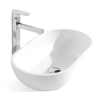 22-Inch Stone Resin Solid Surface Rectangular Round Shape Bathroom Vessel Sink