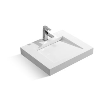 23-5/8-Inch Stone Resin Solid Surface Rectangular Shape Bathroom Vessel Sink