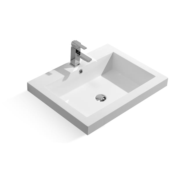 Solid Surface Bathroom Sink: Shop 27-inch Stone Resin Solid Surface Rectangular Shape