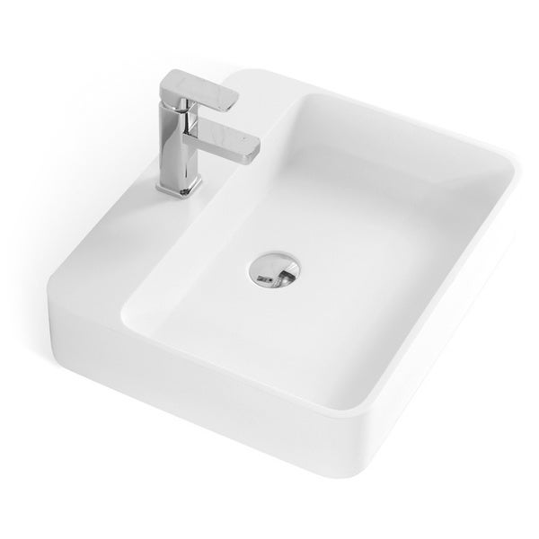 Solid Stone Sink : ... Inch Stone Resin Solid Surface Rectangular Shape Bathroom Vessel Sink