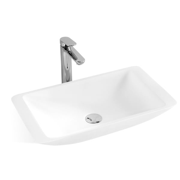 23-1/2-Inch Stone Resin Solid Surface Rectangular Shape Bathroom Vessel Sink