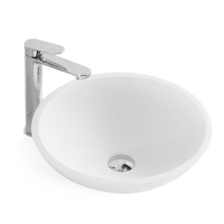 17-Inch Stone Resin Solid Surface Round Slope Shape Bathroom Vessel Sink