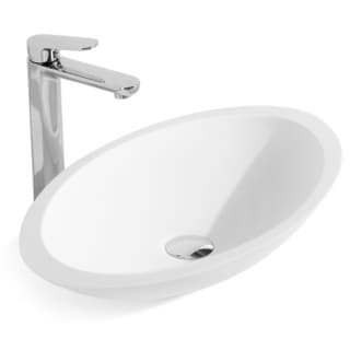 23-Inch Stone Resin Solid Surface Oval Shape Bathroom Vessel Sink