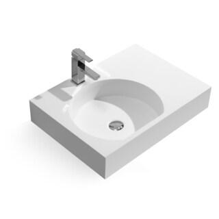 26-Inch Stone Resin Solid Surface Rectangular Shape Bathroom Vessel Sink
