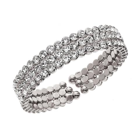 Isla Simone - Row Honeycomb Crystals Cuff Bracelet