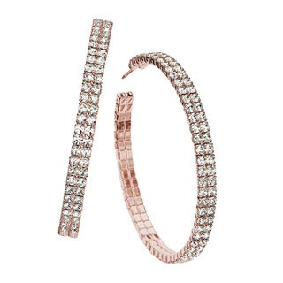 Isla Simone Women's Double Row Crystal Accent Hoop Earrings