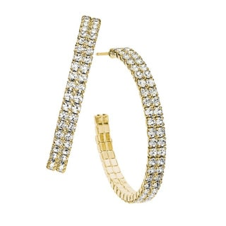 Isla Simone Double Row Crystal 35mm Hoop Earring