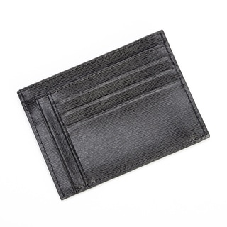 Royce Leather RFID Blocking Slim Card Case Wallet in Saffiano Leather Black