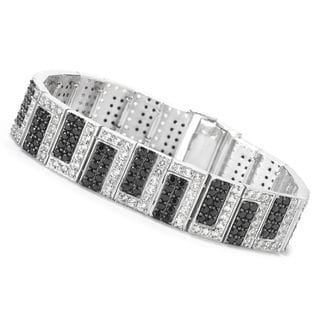 Sterling Silver 14 2/5ct Black Spinel and White Topaz Bracelet