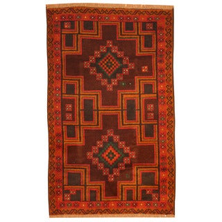 Herat Oriental Afghan Hand-knotted Tribal Balouchi Brown/ Green Wool Rug (3'1 x 5')