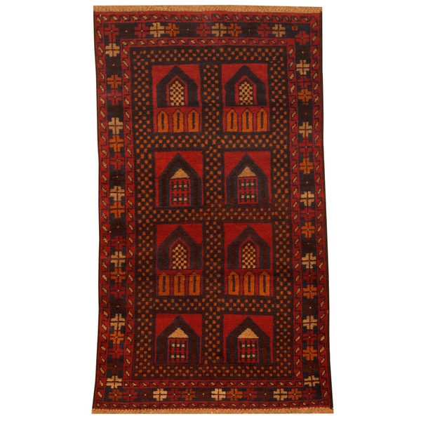 Herat Oriental Afghan Hand-knotted Tribal Balouchi Wool Rug (2'9 x 4'10)