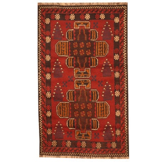 Herat Oriental Afghan Hand-knotted Tribal Balouchi Red/ Brown Wool Rug (2'10 x 4'8)