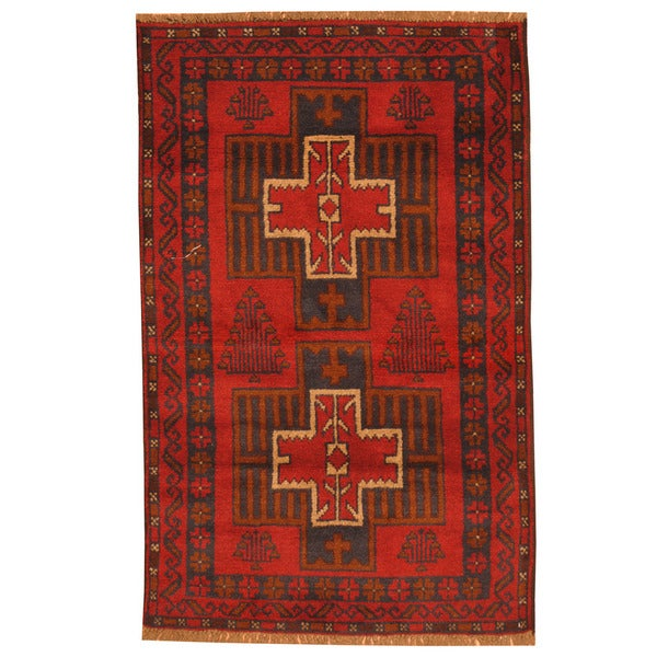 Herat Oriental Afghan Hand-knotted Tribal Balouchi Wool Rug (2'10 x 4'6) - 2'10 x 4'6