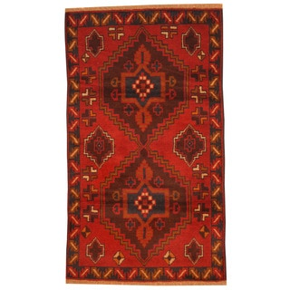 Herat Oriental Afghan Hand-knotted Tribal Balouchi Red/ Brown Wool Rug (2'10 x 4'10)
