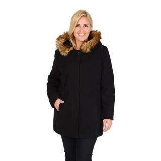 Excelled Women's Plus Faux Wool Asymmetrical Zipper Jacket