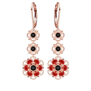 Lucia Costin Sterling Silver Black/ Red Crystal Earrings