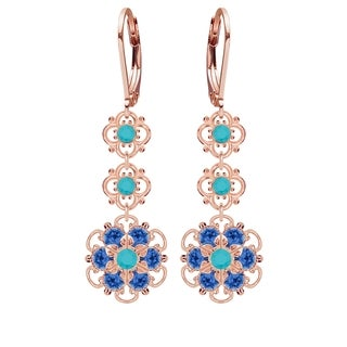 Lucia Costin Sterling Silver Turquoise/ Blue Crystal Earrings