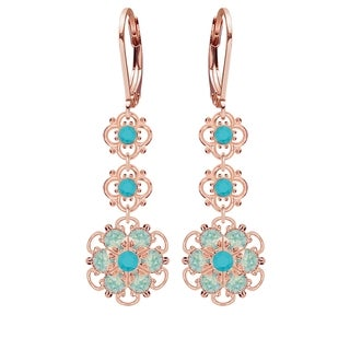 Lucia Costin Silver, Turquoise, Mint Blue Crystal Earrings