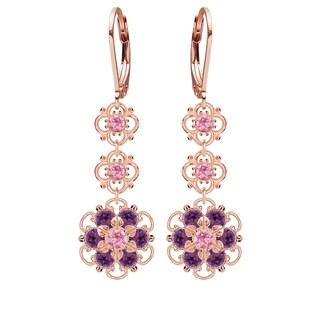 Lucia Costin Sterling Silver Violet/ Light Pink Crystal Earrings
