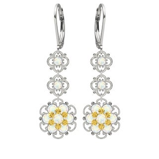 Lucia Costin Silver, White Austrian Crystal Earrings