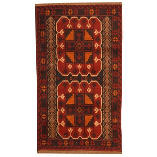 Herat Oriental Afghan Hand-knotted Tribal Balouchi Burgundy/ Brown Wool Rug (2'8 x 4'8)