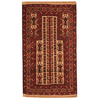 Herat Oriental Afghan Hand-knotted Tribal Balouchi Burgundy/ Ivory Wool Rug (3' x 5')