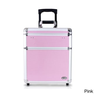 Jacki Design Pink Aluminum 17-inch Rolling Carry-on Makeup Suitcase
