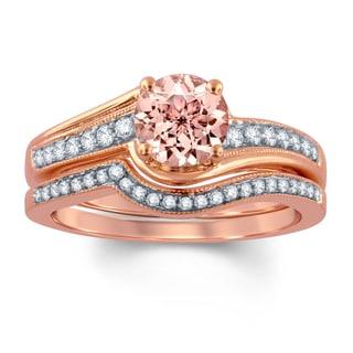 Divina Carat (Ctw) 14K Rose Gold Morganite & White Diamond 1 1/0ct TDW Bridal Engagement Ring With M