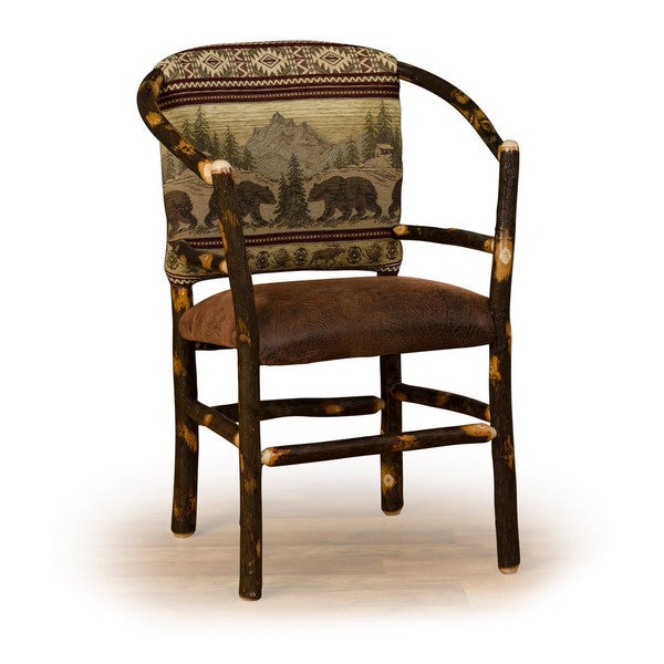 Rustic Hickory Hoop Chair *Bear Mt. Fabric* Amish Made USA
