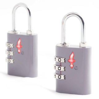Silver Safe Skies 3 Dial TSA-Recognized Lock Double Set One Size