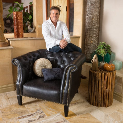 Caleb Tufted Top Grain Leather Arm Chair by Christopher Knight Home