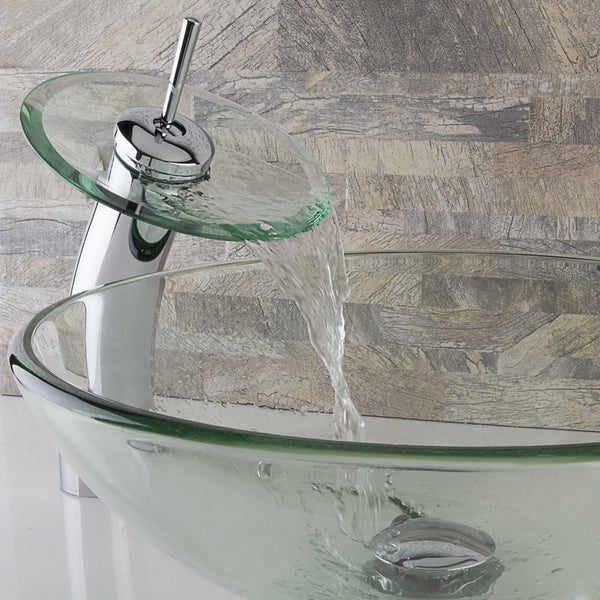 VIGO Crystalline Glass Vessel Sink and Waterfall Faucet Set in Chrome Finish. Opens flyout.