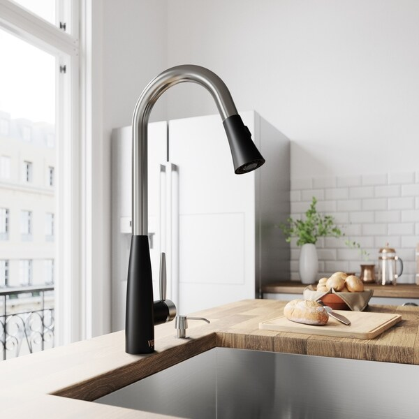 VIGO Milburn Stainless Steel and Matte Black Kitchen Faucet