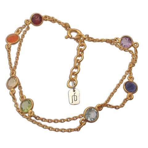 Chakra Gold over Silver Multi-gemstone Bracelet