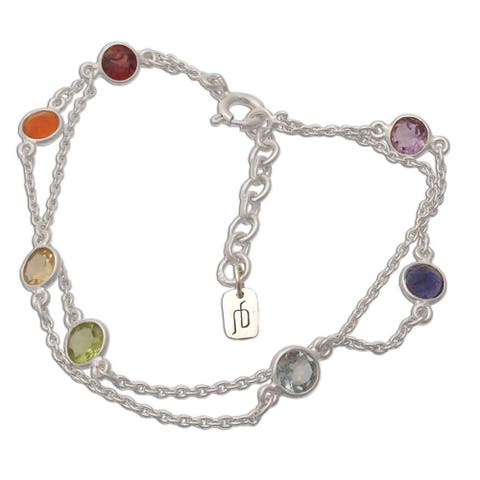 Handmade Chakra Sterling Silver Multi-Gemstone Bracelet