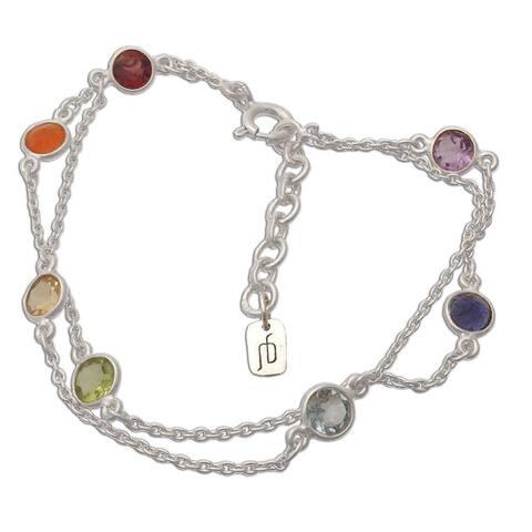 Chakra Sterling Silver Multi-gemstone Bracelet