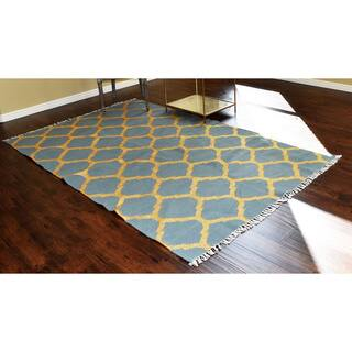 Metallic Gold Kilim Moroccan Trellis Design Wool Rug (5' x 8')|https://ak1.ostkcdn.com/images/products/10626154/P17695739.jpg?impolicy=medium