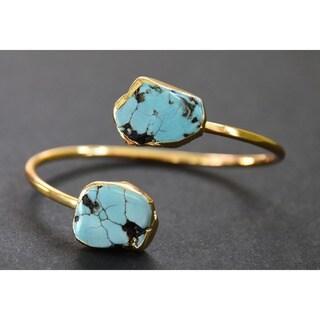 Mint Jules 24k Yellow Goldplated Raw Turquoise Cuff Bangle Adjustable Bracelet