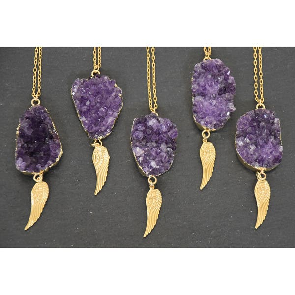 Mint Jules Gold Overlay Raw Cluster Amethyst Geode Pendant Necklace