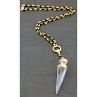 Mint Jules Rosary Chain Druzy Quartz Crystal Spike Pendulum Necklace