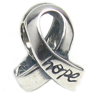 Queenberry Sterling Silver Breast Cancer Ribbon Awareness Bead Charm
