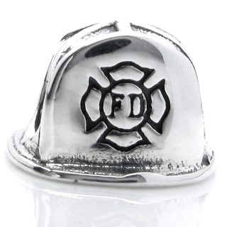 Queenberry Sterling Silver Firefighter Helmet European Bead Charm