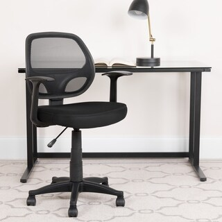 Mid-Back Black Mesh Swivel Task Office Chair with T-Arms - Office Furniture