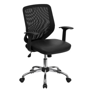 Mid-Back Black Mesh Tapered Back Swivel Task Office Chair with LeatherSoft Seat