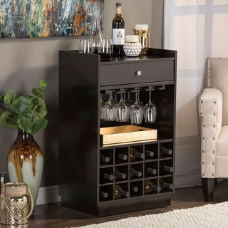 Baxton Studio Oscar Contemporary Dark Brown Wood Dry Bar and Wine Cabinet